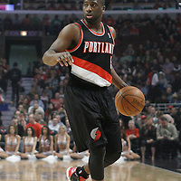 16 March 2012: Portland Trail Blazers point guard Raymond Felton (5) sets the offense during the Portland Trail Blazers 100-89 victory over the Chicago Bulls at the United Center, Chicago, Illinois, USA.