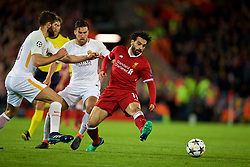 LIVERPOOL, ENGLAND - Tuesday, April 24, 2018: Liverpool's Mohamed Salah (right) and AS Roma's Kevin Strootman (left) during the UEFA Champions League Semi-Final 1st Leg match between Liverpool FC and AS Roma at Anfield. (Pic by David Rawcliffe/Propaganda)