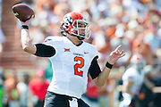 AUSTIN, TX - SEPTEMBER 26:  Mason Rudolph #2 of the Oklahoma State Cowboys drops back to pass against the Texas Longhorns during the 1st quarter on September 26, 2015 at Darrell K Royal-Texas Memorial Stadium in Austin, Texas.  (Photo by Cooper Neill/Getty Images) *** Local Caption *** Mason Rudolph #2
