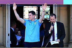 Burnley's Michael Keane celebrates with the fans- Mandatory by-line: Matt McNulty/JMP - 09/05/2016 - FOOTBALL - Burnley Town Hall - Burnley, England - Burnley FC Championship Trophy Presentation