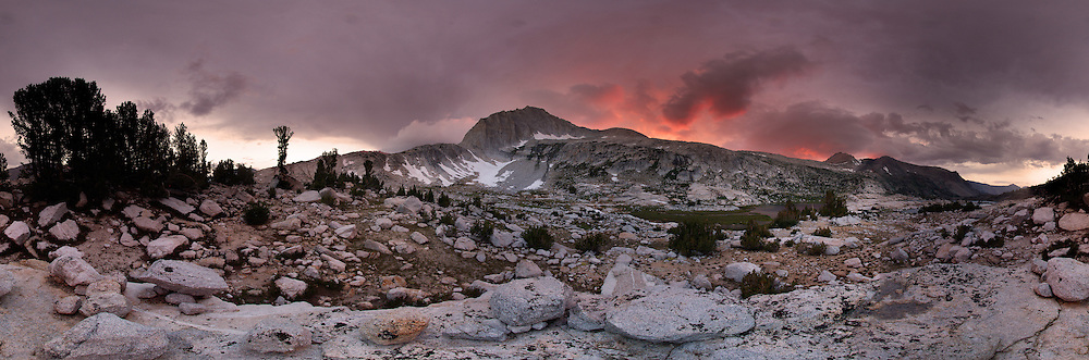 Panorama of North Peak at Sunset in the Twenty Lakes Basin of the Hoover Wilderness