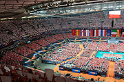 Poland, Warsaw - 2017 August 24: General view of the stadium while national anthems during LOTTO EUROVOLLEY POLAND 2017 - European Championships in volleyball at Stadion PGE Narodowy on August 24, 2017 in Warsaw, Poland.<br /> <br /> Mandatory credit:<br /> Photo by &copy; Adam Nurkiewicz<br /> <br /> Adam Nurkiewicz declares that he has no rights to the image of people at the photographs of his authorship.<br /> <br /> Picture also available in RAW (NEF) or TIFF format on special request.<br /> <br /> Any editorial, commercial or promotional use requires written permission from the author of image.
