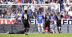 GENOVA, Sept. 25, 2017  Sampdoria's Duvan Zapata (2nd R) scores during a Serie A soccer match between AC Milan and Sampdoria in Genova, Italy, Sept. 24, 2017. Sampdoria won 2-0. (Credit Image: © Alberto Lingria/Xinhua via ZUMA Wire)