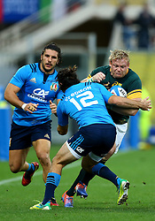 November 19, 2016 - Rome, Italy - Adriaan Strauss (S) tackled by Luke McLean (I)  during the international match between Italy v South Africa at Stadio Olimpico on November 19, 2016 in Rome, Italy. (Credit Image: © Matteo Ciambelli/NurPhoto via ZUMA Press)