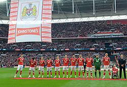 Bristol City players line up on the Wembley Pitch  - Photo mandatory by-line: Joe Meredith/JMP - Mobile: 07966 386802 - 22/03/2015 - SPORT - Football - London - Wembley Stadium - Bristol City v Walsall - Johnstone Paint Trophy Final