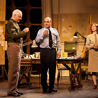 The Lyceum present the World Premiere of Pressure<br /> By David Haig<br /> <br /> Picture shows : Malcolm Sinclair &ndash; General Dwight D &ldquo;Ike&rdquo; Eisenhower ( left ), David Haig &ndash; Group Captain Dr. James Stagg ( centre) , Laura Rogers as Kay Summersby <br /> <br /> <br /> Picture : Drew Farrell<br /> Tel : 07721 -735041<br /> www.drewfarrell.com<br /> 