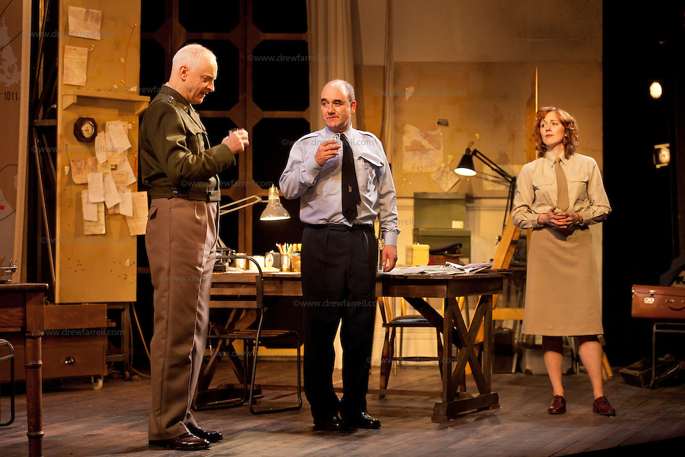The Lyceum present the World Premiere of Pressure<br /> By David Haig<br /> <br /> Picture shows : Malcolm Sinclair &ndash; General Dwight D &ldquo;Ike&rdquo; Eisenhower ( left ), David Haig &ndash; Group Captain Dr. James Stagg ( centre) , Laura Rogers as Kay Summersby <br /> <br /> <br /> Picture : Drew Farrell<br /> Tel : 07721 -735041<br /> www.drewfarrell.com<br /> Directed by John Dove<br /> A co-production with Chichester Festival Theatre<br /> June 1944. One man's decision is about to change the course of history.<br /> <br /> Cast<br /> David Haig &ndash; Group Captain Dr. James StaggLaura Rogers &ndash; Kay SummersbyRobert Jack &ndash; AndrewAnthony Bowers &ndash; Lieutenant Battersby/ Captain JohnsScott Gilmour &ndash; Young Naval RatingMalcolm Sinclair &ndash; General Dwight D &ldquo;Ike&rdquo; EisenhowerTim Beckmann &ndash; Colonel Irving P. KrickMichael Mackenzie &ndash; Electrician/Admiral Bertram &ldquo;Bertie&rdquo; RamsayAlister Cameron &ndash; Air Chief Marshall Sir Trafford Leigh-MalloryGilly Gilchrist &ndash; General &ldquo;Tooey&rdquo; Spaatz/Commander Franklin<br /> Creative Team<br /> Director - John DoveDesigner - Colin RichmondLX Designer - Tim MitchellDeputy LX Designer - Guy JonesComposer/Sound Design - Philip PinskyVideo Designer - Andrzej Goulding&nbsp;&nbsp;<br /> An intense real-life thriller centred around the most important weather forecast in the history of warfare.Scottish meteorologist, Group Captain James Stagg, the son of a Dalkeith plumber, must advise General Eisenhower on when to give the order to send thousands of waiting troops across the Channel in Operation Overlord.In what became the most volatile period in the British Isles for over 100 years, the future of Britain, Europe and our relationship with the United States, rested on the shoulders of one reluctant Scotsman.<br /> Pressure is the extraordinary and little known story of a Scot who changed the course of war, and our lives, forever.David Haig is a four time nomin