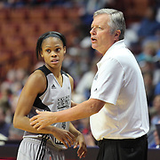 UNCASVILLE, CONNECTICUT- MAY 05:  Moriah Jefferson #4 of the San Antonio Stars with Head Coach Dan Hughes during the San Antonio Stars Vs Connecticut Sun preseason WNBA game at Mohegan Sun Arena on May 05, 2016 in Uncasville, Connecticut. (Photo by Tim Clayton/Corbis via Getty Images)