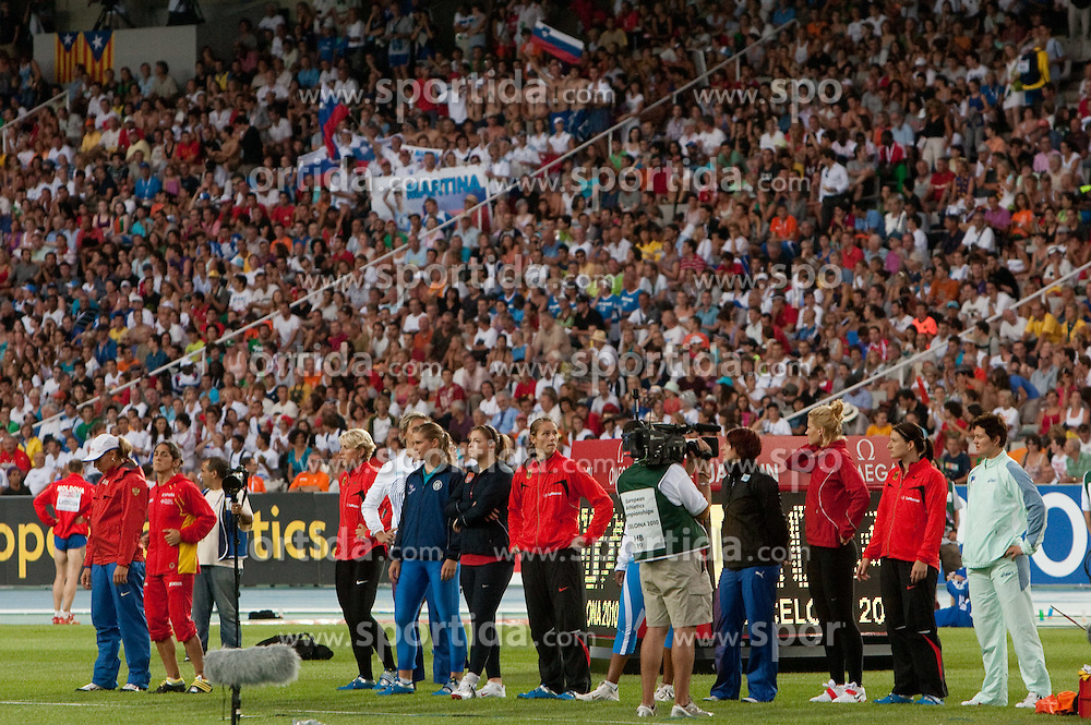 Martina Ratej of Slovenia competes (R) in the Womens Javelin Final during day three of the 20th European Athletics Championships at the Olympic Stadium on July 29, 2010 in Barcelona, Spain. (Photo by Vid Ponikvar / Sportida)