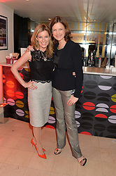 Left to right, ANDREA CATHERWOOD and KATIE DERHAM at the Costa Book Awards 2013 held at Quaglino's, 16 Bury Street, London on 28th January 2014.