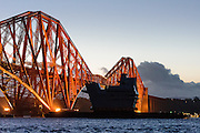 UB14 travels under the Forth Rail Bridge shot for the Aircraft Carrier Alliance