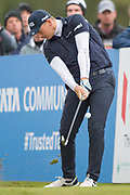 Matt Wallace of England tees off during the British Masters 2018 at Walton Heath Golf Course, Walton On the Hill, Surrey on 12 October 2018. Picture by Martin Cole.