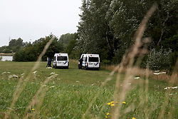 FRANCE GRANDE SYNTHE 2AUG17 - French police vehicles park at a woodland designated as the unofficial Jungle II camp near Grande Synthe, Dunkirk, northern France. An estimated 300-400 stranded refugees are thought to be staying in the woodlands.<br /> <br /> jre/Photo by Jiri Rezac<br /> <br /> © Jiri Rezac 2017