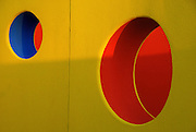 The Peek-A-Boo wall is a colorful maze of concentric, semi-circles at the new Dell Children's Hospital in Austin Texas on the site of the former Robert Mueller Airport, July 15 2007. Designed by TBG Partners, the wall is part of the hospital's healing garden.