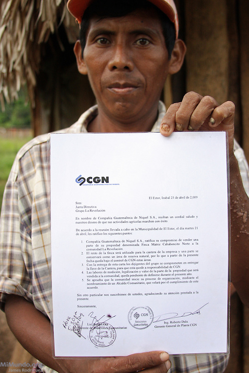 Two and a half years after the violent eviction and destruction of Barrio La Revolucion, local leader Pablo Bac shows a letter from the Guatemalan Nickel Company (CGN) stating it will provide ownership titles to Barrio La Revolucion. On January 8th and 9th, 2007, CGN, local subsidiary of Canadian Skye Resources, ordered the forced eviction of five Q'eqchi' Mayan communities around Lake Izabal in El Estor and Panzos, Guatemala. On September 28, 2009, Pablo Bac and other anti-mining leaders were gunned down on their way to a workshop. Pablo lost an eye and eventually died from health complications on March 27, 2010.