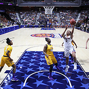Morgan Tuck, UConn, drives to the basket during the UConn Huskies Vs East Carolina Pirates Quarter Final match at the  2016 American Athletic Conference Championships. Mohegan Sun Arena, Uncasville, Connecticut, USA. 5th March 2016. Photo Tim Clayton