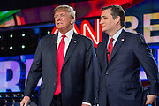 Presidential hopeful Donald Trump (left) and Ted Cruz before the CNN Republican Presidential Debate at the Venetian Hotel and Casino in Las Vegas.