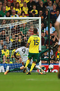 Hull City's Nouha Dicko scores the first goal during the EFL Sky Bet Championship match between Norwich City and Hull City at Carrow Road, Norwich, England on 14 October 2017. Photo by John Marsh.