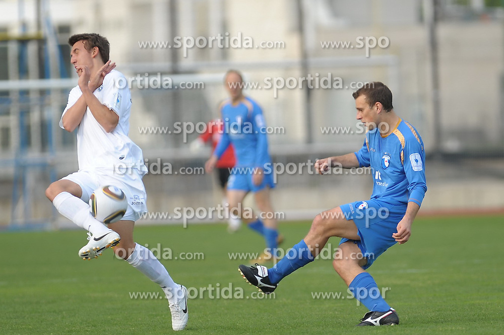Rakuscek of Gorica and Duspara of Domzale at football match of 32th Round of 1st Slovenian League between NK Hit Gorica and CM Celje, on April 24, 2010, in Sportni park, Nova Gorica, Slovenia. (Photo by foto-forma/ Sportida)