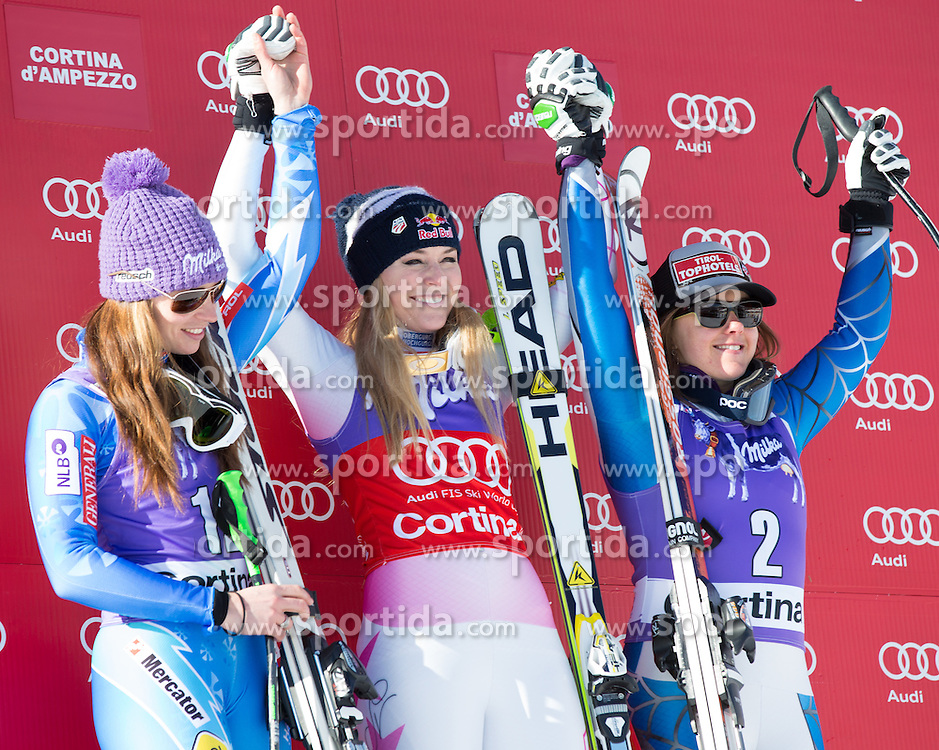 19.01.2013, Olympia delle Tofane, Cortina d Ampezzo, ITA, FIS Weltcup Ski Alpin, Abfahrt, Damen, Podium, im Bild v.r.n.l. Tina Maze (SLO, Platz 2), Lindsey Vonn (USA, Platz 1) und Leanne Smith (USA) // f.l.t.r. 2nd place Tina Maze of Slovenia, 1st place Lindsey Vonn of the USA and 3th place Leanne Smith of the USA celebrate on podium during ladies Downhill of the FIS Ski Alpine World Cup at the Olympia delle Tofane course, Cortina d Ampezzo, Italy on 2013/01/19. EXPA Pictures © 2013, PhotoCredit: EXPA/ Johann Groder