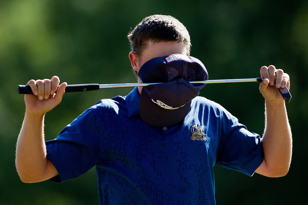Michael Weaver reacts on the 18th green after his put to win the match liped out during his championship match against Steven Foxat the 2012 U.S. Amateur Championship at Cherry Hills Country Club on August 19, 2012 in Cherry Hills Village, Colorado.