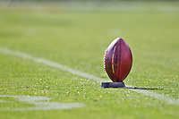 16 September 2012: The NFL football sits on a kicking tee during warm-ups before the San Francisco 49ers 27-19 victory against the Detroit Lions in an NFL football game at Candlestick Park in San Francisco, CA.