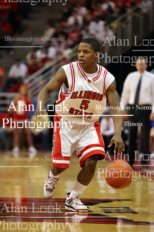 """27 January 2008: Keith """"Boo"""" Richardson in a game where the Indiana State Sycamores were cut down by the Illinois State Redbirds 65-62 on Doug Collins Court at Redbird Arena in Normal Illinois.."""