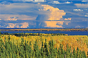 Storm clouds and boreal forest in autumn<br /> near La Ronge<br /> Saskatchewan<br /> Canada