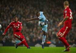 11.01.2012, Etihad Stadion, Manchester, ENG, Carling Cup, Manchester City vs FC Liverpool, Halbfinale, im Bild Liverpool's Glen Johnson in action against Manchester City's captain Micah Richards during the football match of English Carling Cup, Halffinal, between Manchester City and FC Liverpool at Etihad Stadium, Manchester, United Kingdom on 2012/01/11. EXPA Pictures © 2012, PhotoCredit: EXPA/ Propagandaphoto/ David Rawcliff..***** ATTENTION - OUT OF ENG, GBR, UK *****