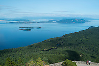 Tourists at Mount Constitution Scenic Overlook / Moran State Park, Orcas Island, Washington