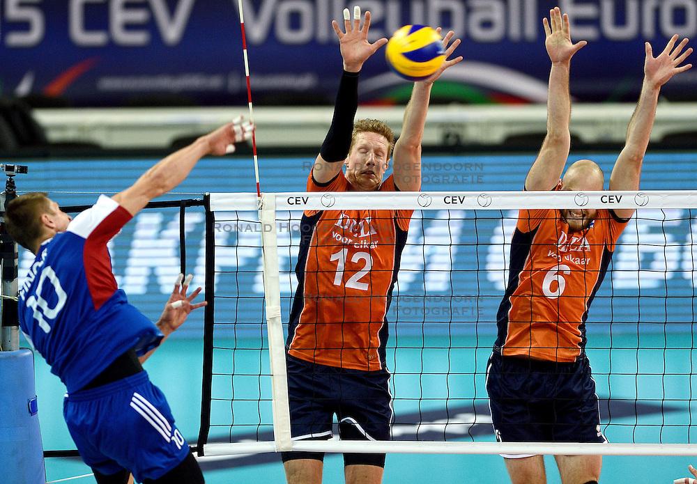 09-10-2015 BUL: Volleyball European Championship Tsjechie - Nederland, Sofia<br /> Nederland wint de belangrijke openingswedstrijd tegen Tsjechie met 3-1 / Blok Kay van Dijk #12, Jasper Diefenbach #6