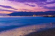 Evening light over Ventura from Buenaventura State Beach, Ventura, California USA