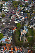 Nederland, Noord-Holland, Bergen, 28-04-2010; centrum van het dorp met Ruinekerk..Center of the village with Church Ruin. Kerkstraat en Plein (li)..luchtfoto (toeslag), aerial photo (additional fee required).foto/photo Siebe Swart