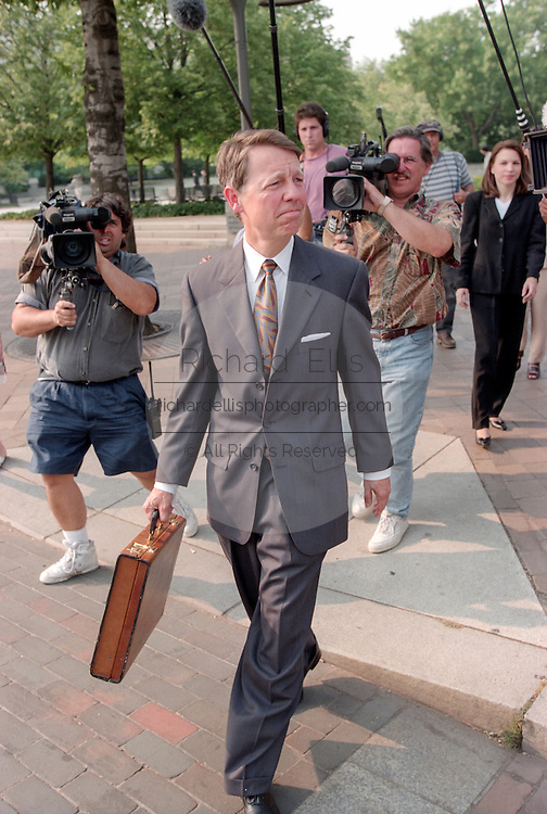 David Kendall, attorney for US President Bill Clinton, leaves the Federal Courthouse where the Grand Jury is investigating President Bill Clinton July 28, 1998 in Washington, DC.