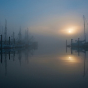 A misty morning in the port town of Charleston, Oregon.