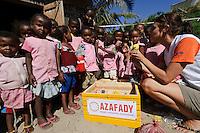 Ailie Tam delivering donated toys to a school, Amparihy, Fort Dauphin, Madagascar. Azafady's mission is to alleviate extreme poverty and protect endangered, biologically rich forest environments in Madagascar by empowering some of the poorest people to establish sustainable livelihoods and improve their health and wellbeing. Their aims are to raise awareness about the plight of the Madagascan environment and the Malagasy people; to empower Malagasy people to improve their own lives; and provide support to communities and threatened environments. Azafady's approach is one of co-operation and participation with grassroots communities working to alleviate the effects of poverty and to support viable, environmentally sensitive development. Their holistic development and conservation projects support some of the world's most vulnerable people in threatened & irreplaceable environments. At the heart of the charity's work is an integrated approach to the needs of the Malagasy people and their unique environment, sensitively built around what local people have told the charity are their most critical needs and which maximises community participation. Azafady develop projects using the Sustainable Livelihoods model for poverty reduction, which aims to reduce vulnerability by strengthening communities' human, natural, financial, social and physical assets with a caveat that the charity's projects and activities do not compromise the environment. Projects incorporate communication, training and support at the level of the Fokontany (village) and the household, with a priority for the most isolated and marginalised communities. The charity has recently recruited a Research, Monitoring and Evaluation Manager, who will implement Azafady's new HIV/AIDS activities with pregnant and married women, with the aim of reducing rates of maternal transmission of HIV within the town.
