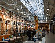 McArthur Glen designer outlet interior inside former railway works, Swindon, Wiltshire, England, UK