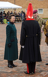 © Licensed to London News Pictures. 04/12/2013 Windsor, UK. <br /> HRH The Princess Royalchats to the head of the Band of The Blues and Royals after presenting  the Afghanistan Operation Service medal to members of the Household Cavalry Regiment  at Combermere Barracks, Windsor to mark their sixth and final return from Afghanistan.  Photo credit : Simon Jacobs/LNP