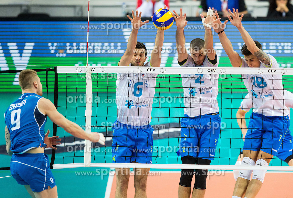 Ivan Zaytsev of Italy vs Mitja Gasparini #6 of Slovenia, Alen Pajenk #2 of Slovenia and Klemen Cebulj #18 of Slovenia during volleyball match between National teams of Slovenia and Italy in 1st Semifinal of 2015 CEV Volleyball European Championship - Men, on October 17, 2015 in Arena Armeec, Sofia, Bulgaria. Photo by Vid Ponikvar / Sportida