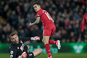 Goal to Liverpool. Philippe Coutinho (Liverpool) digs the ball out from under his feet and passes the ball around Artur Boruc (AFC Bournemouth)  and into the net for Liverpool's equaliser. 1-1 during the Premier League match between Liverpool and Bournemouth at Anfield, Liverpool, England on 5 April 2017. Photo by Mark P Doherty.