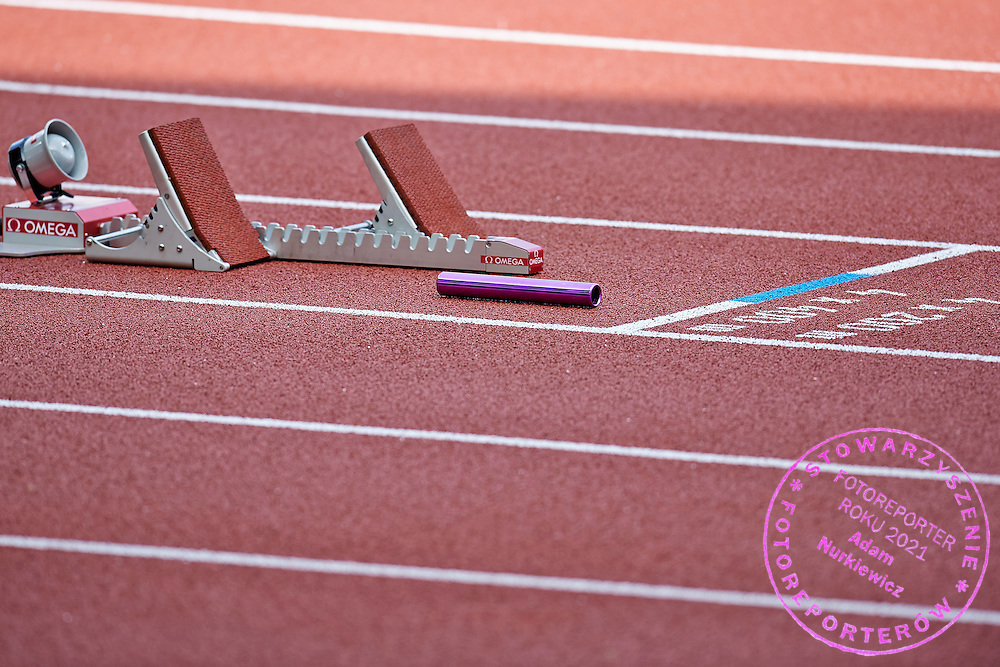 Stick lays on track before Men's Relay 4 x 400 meteras final during the Sixth Day of the European Athletics Championships Zurich 2014 at Letzigrund Stadium in Zurich, Switzerland.<br /> <br /> Switzerland, Zurich, August 17, 2014<br /> <br /> Picture also available in RAW (NEF) or TIFF format on special request.<br /> <br /> For editorial use only. Any commercial or promotional use requires permission.<br /> <br /> Photo by &copy; Adam Nurkiewicz / Mediasport