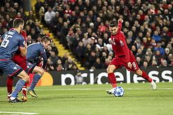 October 24, 2018 - Liverpool, England, United Kingdom - Liverpool forward Roberto Firmino (9) scores his goal during the Uefa Champions League Group Stage football match n.3 LIVERPOOL - CRVENA ZVEZDA on 24/10/2018 at the Anfield Road in Liverpool, England. (Credit Image: © Matteo Bottanelli/NurPhoto via ZUMA Press)