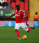 Charlton Athletic defender Nabby Sarr clearing the ball to set yup another Charlton attack during the Sky Bet Championship match between Charlton Athletic and Sheffield Wednesday at The Valley, London, England on 7 November 2015. Photo by Matthew Redman.