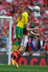 Norwich Martin Olsson holds of Middlesbrough Jelle Vossen, Middlesbrough v Norwich, Sky Bet Championship, Play Off Final, Wembley Stadium, Monday  25th May 2015