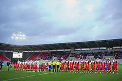 LLANELLI, WALES - Wednesday, August 15, 2012: Wales and Bosnia-Herzegovina players before the international friendly match at Parc y Scarlets. (Pic by David Rawcliffe/Propaganda)