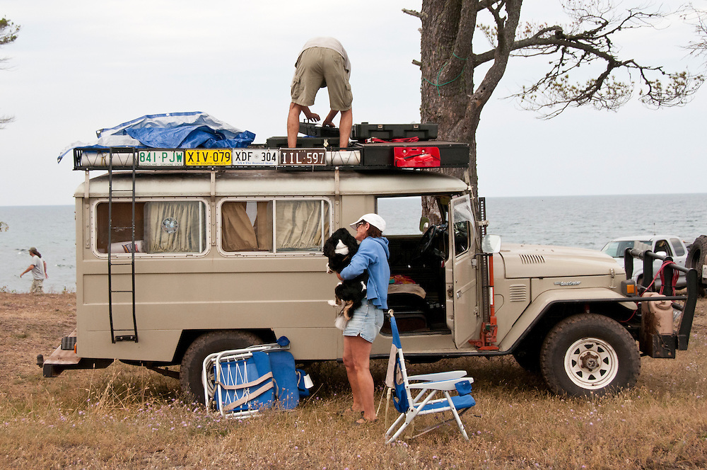 Lynn Pisciotta and James LaFemina of New York make camp at High Rock Bay on the Keweenaw Peninsula during the 2010 U.P. Overland trip in the Upper Peninsula of Michigan.