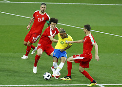 June 27, 2018 - Moscow, Russia - Group E Serbia v Brazil - FIFA World Cup Russia 2018.Neymar (Brazil) against Aleksandar Kolarov (Serbia) , Milos Veljkovic (Serbia) and Nemanja Matic (Serbia)  at Spartak Stadium in Moscow, Russia on June 27, 2018. (Credit Image: © Matteo Ciambelli/NurPhoto via ZUMA Press)