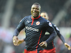 Readings Yakubu Celebrates after Scoring Readings Second and Winning Goal at Derby, Derby County v Reading, FA Cup 5th Round, The Ipro Stadium, Saturday 14th Febuary 2015