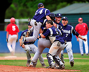 OLD BROOKVILLE, NY - MAY 26, 2009: The St. Dominic baseball team celebrates their 6-4 win over St. John the Baptist in Game 3 of the CHSAA Finals held at New York Institute of Technology.  Photo by Kathy Kmonicek