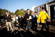 SAN BRUNO, CA - SEPTEMBER 10: Lt. Governor Abel Maldonado, center, arrives at a press conference September 10, 2010 in San Bruno, California. A massive explosion rocked a neighborhood near San Francisco International Airport, destroying 37 homes, killing at least 4 people, and injuring at least 50.